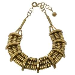 Etro Aged Gold Tone Layered Dome Necklace