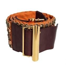 Etro Orange/Brown Leather and Fabric Studded Waist Belt 75CM