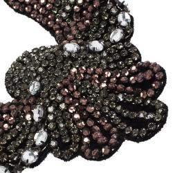 Etro Crystal Studded Bib Black Fabric Necklace