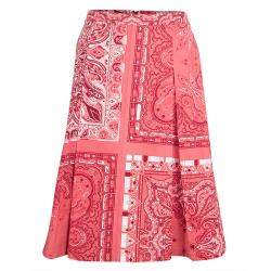 Etro Red Paisley Printed Cotton Box Pleated Skirt L