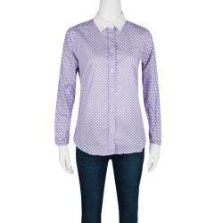 Etro Purple Printed Cotton Contrast Cuff and Collar Long Sleeve Shirt S