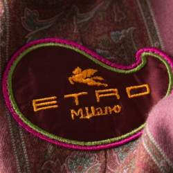 Etro Multicolor Houndstooth Plaid Floral Applique Detail Wool Blazer M