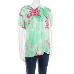 Etro Mint Green and Pink Floral Printed Silk Polo T-Shirt M