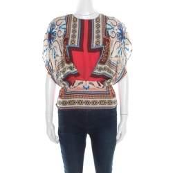 Etro Multicolor Printed Silk Blouson Top S