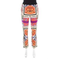 Etro Multicolor Digital Printed Crepe Straight Fit Trousers S