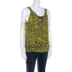 Etro Lime Green Snakeskin Print Silk Embellished Sleeveless Top L