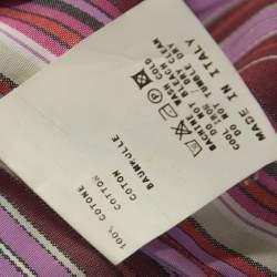 Etro Multicolour Striped Cotton Ruffled Detail Shirt S
