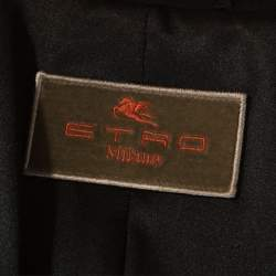 Etro Black Printed Textured Silk Long Sleeve Coat L