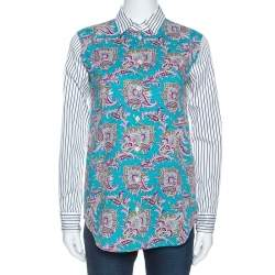 Etro Multicolor Paisley and Striped Print Cotton Button Front Shirt S