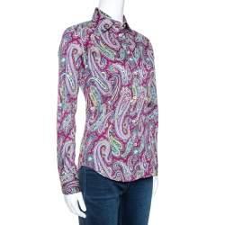 Etro Purple Paisley Print Stretch Cotton Long Sleeve Shirt S