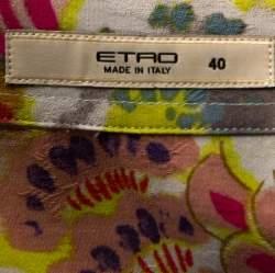 Etro Multicolor Crayon Floral Printed Cotton Jacquard Shirt S