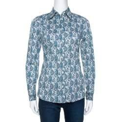 Etro Teal Blue Paisley Printed Stretch Cotton Shirt S