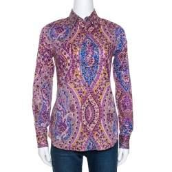 Etro Purple Floral Print Stretch Cotton Shirt S