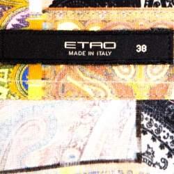 Etro Green Paisley Patch Print Stretch Cotton Shirt S