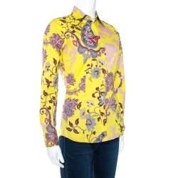 Etro Yellow Floral Paisley Print Stretch Cotton Shirt S