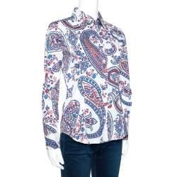 Etro White Floral Paisley Print Stretch Cotton Shirt S