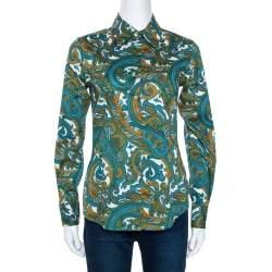 Etro Green & Blue Paisley Print Stretch Cotton Shirt S