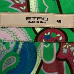Etro Green Floral Paisley Print Stretch Cotton Shirt S