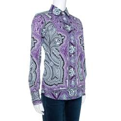 Etro Purple & Black Paisley Print Stretch Cotton Shirt S