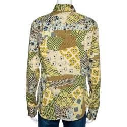 Etro Yellow Stretch Cotton Multi Print Button Front Shirt L