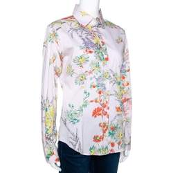 Etro Pale Pink Pinstriped Floral Printed Cotton Button Front Shirt L