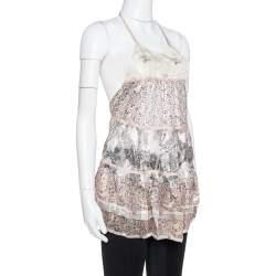 Etro Cream Floral Print Silk Sheer Open Back Halter Neck Top M