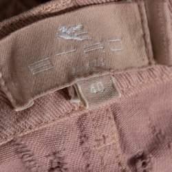 Etro Pink Cotton Distressed Pattern Straight Leg Jeans S