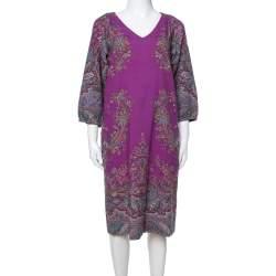 Etro Purple Floral Print Wool Shift Dress M
