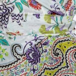 Etro Multicolor Floral Print Silk Top L