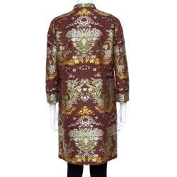 Etro Vintage Brown Floral Jacquard Coat M
