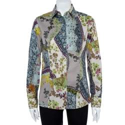 Etro Multicolor Floral Print Stretch Cotton Shirt L