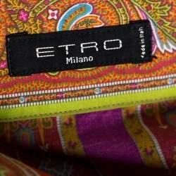 Etro Orange Cotton Floral Striped Button Front Shirt L