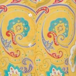 Etro Yellow Paisley Print Stretch Cotton Shirt L