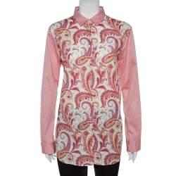 Etro Pink Paisley Print Cotton Button Front Shirt L