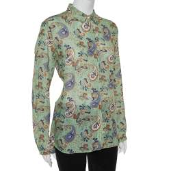 Etro Green Ramie Paisley Print Button Front Shirt L