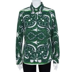 Etro Green Stretch Cotton Paisley Print Button front Shirt XL