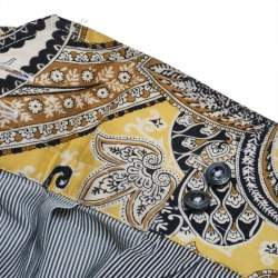 Etro Black and White Cotton Stripe Body with Paisley Print Shirt L