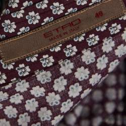 Etro Maroon Cotton Floral Print Full Sleeve Shirt L