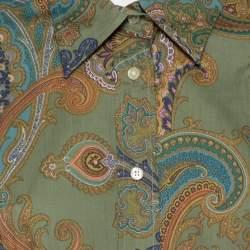Etro Green Cotton Print Full Sleeve Shirt L