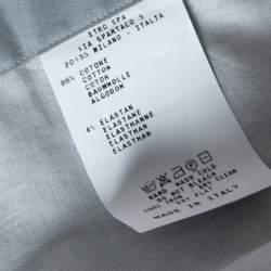 Etro Grey Cotton Half Print Half Plain Full Sleeve Shirt L