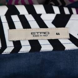 Etro Multicolor Patchwork Print Cotton Button Front Shirt L