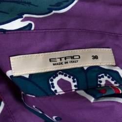 Etro Purple Floral Paisley Print Stretch Cotton Shirt S
