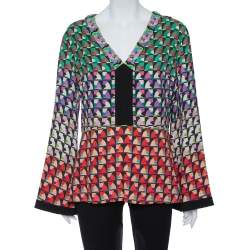 Etro Multicolor Knit  Abstract Print Embellished Plunge Neck Detail Top L
