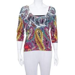 Etro Multicolor Paisley Printed Silk Knit Top L