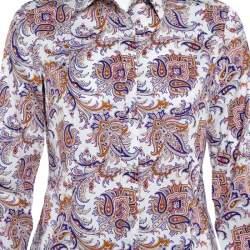 Etro White Paisley Printed Cotton Button Front Shirt M