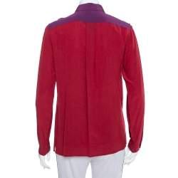 Etro Burgundy Silk Contrast Paneled Long Sleeve Shirt M