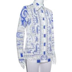Etro White & Blue Abstract Printed Cotton Button Front Shirt L