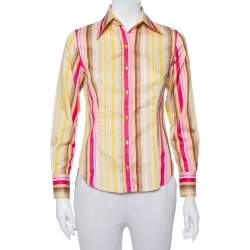 Etro Multicolor Striped Cotton Fitted Button Front Shirt S