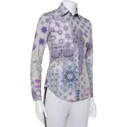 Etro Purple Printed Cotton Button Front Fitted Shirt S