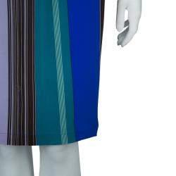 Etro Multicolor Striped Silk Long Sleeve Tunic Dress M